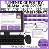 Elements of Poetry, Drama, and Prose Game Print and Digital Distance Learning