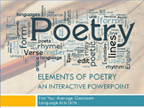 Elements of Poetry Entire Unit Interactive PowerPoint and