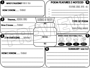 elements of poetry graphic organizer for any poem by carrie lutz. Black Bedroom Furniture Sets. Home Design Ideas