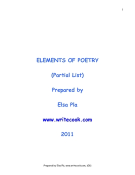 Elements of Poetry (Partial List)