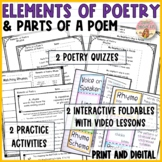 Elements of Poetry & Parts of a Poem Interactive Notebooks, Video, Comprehension