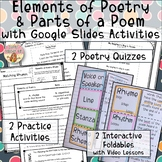 Elements of Poetry & Parts of a Poem Interactive Notebooks, Video, Google Slides