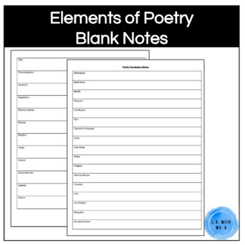 Elements of Poetry/Poetry Vocabulary Note Worksheet