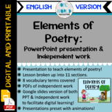 Elements of Poetry: Powerpoint Lesson and Practice Work EN