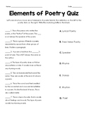 Elements of Poetry Quiz
