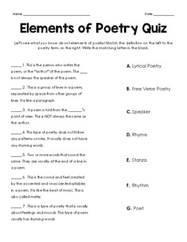 elements of poetry quiz by no frills fourth teachers pay teachers. Black Bedroom Furniture Sets. Home Design Ideas