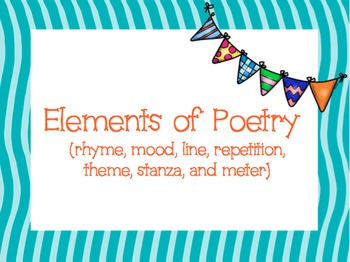 Elements of Poetry (RL.4.5)- Definitions and Sample Poems