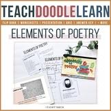 Elements of Poetry doodle flip book, interactive presentation, worksheets, quiz