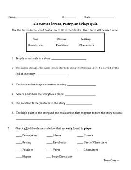 Elements of Prose, Poetry, Plays Quiz
