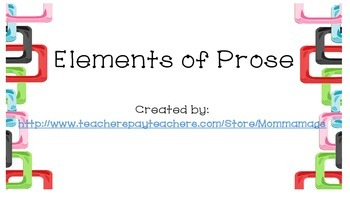 Elements of Prose Task Cards