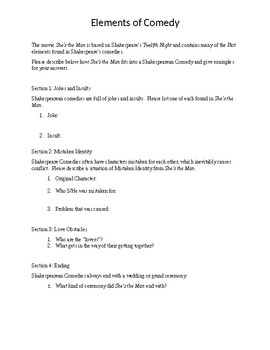 Elements of Shakespeare Comedy Worksheet
