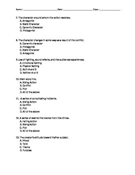 Elements of Short Stories Multiple Choice Test