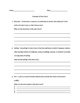Elements of Short Story Worksheet by TAYLOR JOHNSON | TpT