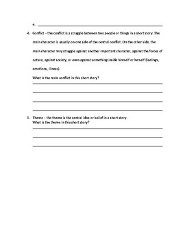 Elements of Short Story Worksheet by TAYLOR JOHNSON   TpT