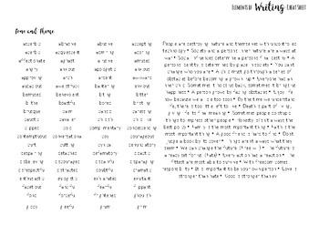 Elements of Writing Cheat Sheet