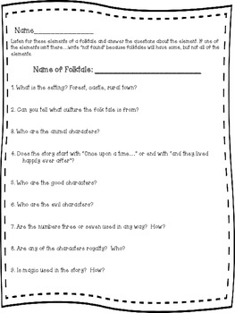 Elements of a Folktale:Worksheet to go with watching/listening to a folktale