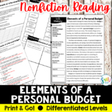 Elements of a Personal Budget Reading Activity (SS5E4, SS5E4a)
