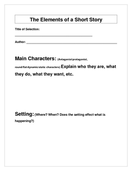 Elements of a Short Story Graphic Organizer and Worksheet by Jim Tuttle