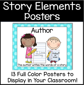 Elements of a Story & Author/Illustrator Poster Pack in Sherbert Dots