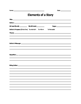 Elements of a Story Book Report