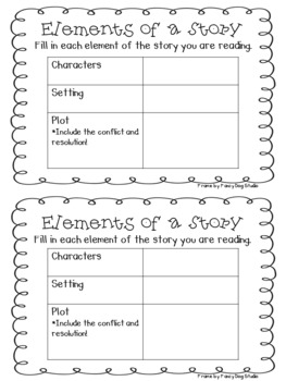 Elements of a Story Graphic Organizer 2 per page
