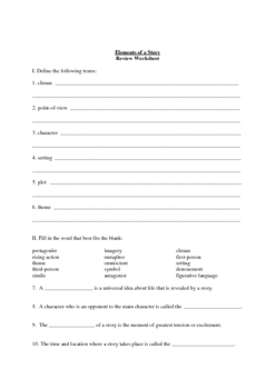 Elements of a Story: Review Worksheet