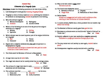Elements of a Tragedy PPT Quiz