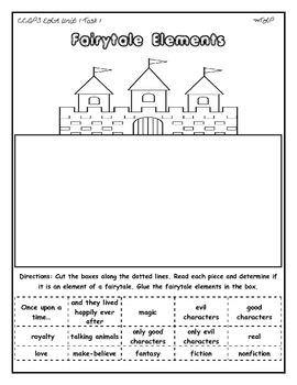 Elements of a fairytale Cut and Paste Activity CCGPS 1st grade ELA Unit 1