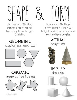Element of art: Shape and Form Printable