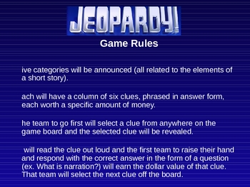 Elements of the Short Story Jeopardy Game