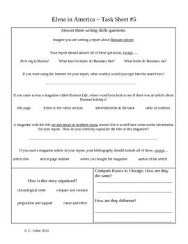 Elena in America Activity Sheets ~ Reader's Library ~ 4th Grade