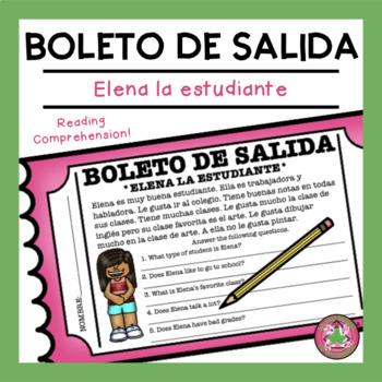 Elena la estudiante Reading Comprehension Exit Slip