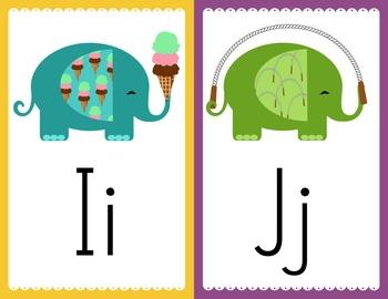 Elephant Alphabet Cards - Word Wall Headers