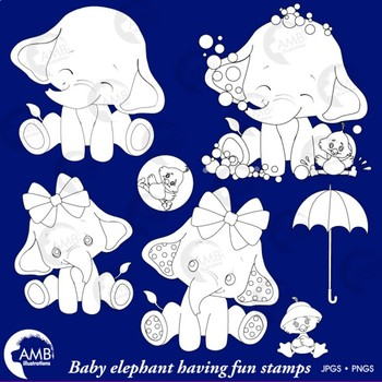 Elephant Babies Digital Stamps, Baby Elephant and Bird Clipart, AMB-2287B