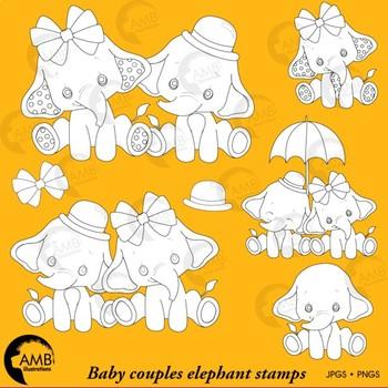 Elephant Babies Digital Stamps, Baby Elephants Clipart, AMB-2287C