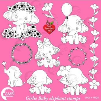 Elephant Babies Digital Stamps, Baby Elephants Clipart, AMB-2287E