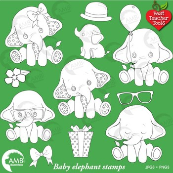 Elephant Babies Digital Stamps, Baby Elephants Clipart, AMB-2287F