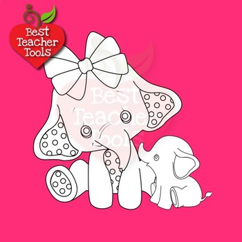 Elephant Babies Digital Stamps, Mummy and Baby Elephant Clipart, AMB-2287A