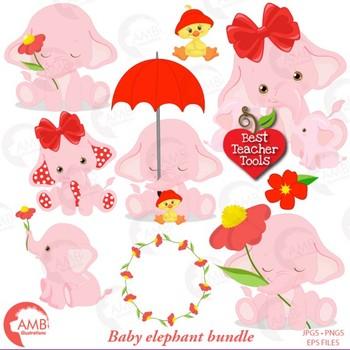 Elephant Babies in Pink! Mega Bundle, Elephant Clipart, Nursery Clipart AMB-2276