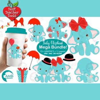 Elephant Babies Mega Bundle, Elephant Clipart, Nursery Clipart AMB-2273