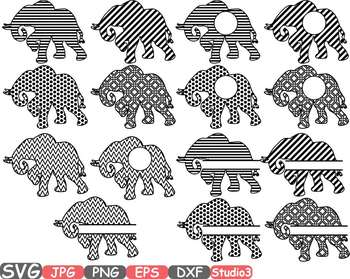 Elephant Chevron Frames SVG clipart circle split frame outline circus zoo 679s