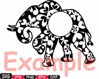 Elephant Circle Frames Jungle Animal Safari Flower SVG school Clipart zoo -394s