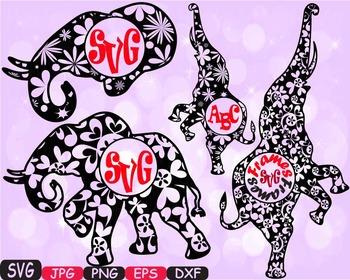 Elephant Circle Frames Jungle Animal Safari Flower SVG sch