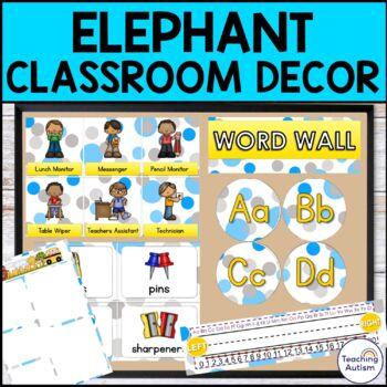 Elephant Classroom Decor Pack - Editable