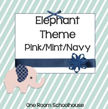 Elephant Classroom Theme Pink/Mint/Navy