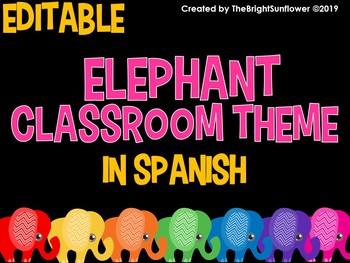 Elephant Classroom Theme in Spanish