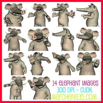 Elephant Clip Art Images - now includes blacklines!