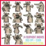 Elephant Clip Art Images - now includes blacklines!
