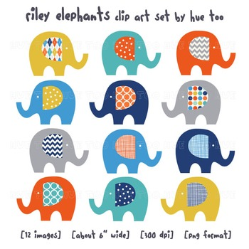 Elephant Clip Art, Orange, Blue, Yellow, Gray Elephant Images for TpT Sellers