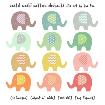 Elephant Clip Art, Pastel Colors Elephants By TpT Sellers